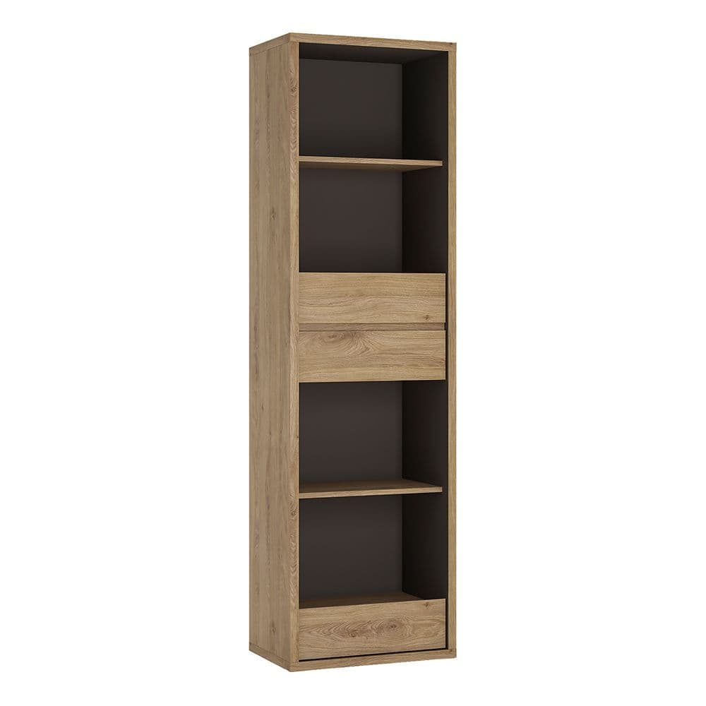 Oregon Tall Narrow 3 Drawer bookcase in Oregon Oak Finish